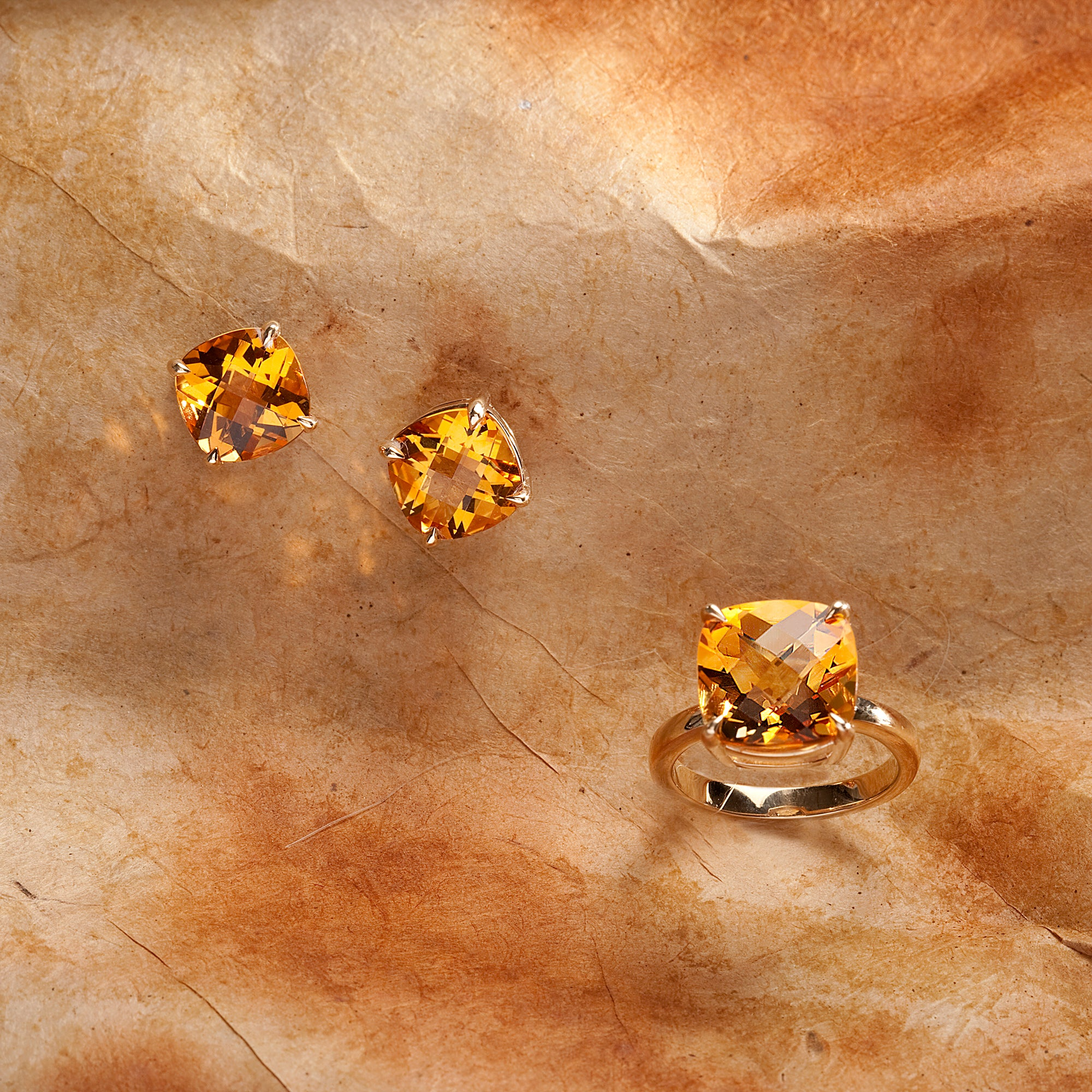 14K white gold citrine jewelry set featuring cushion-cut citrines. Custom made to order for any size citrine gemstone.