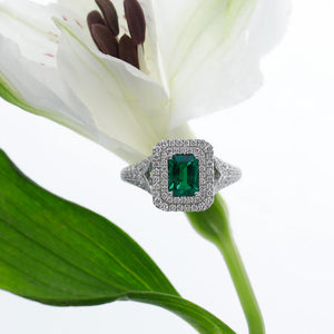 18K White Gold Emerald-Cut Emerald And Diamond Ring