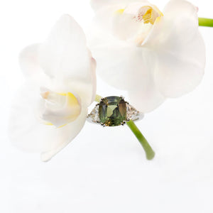 Platinum Natural Green-Yellow Sapphire And Diamond Ring