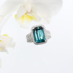 One Of A Kind 18K White Gold Rare Blue-Green Tourmaline and Diamond Ring
