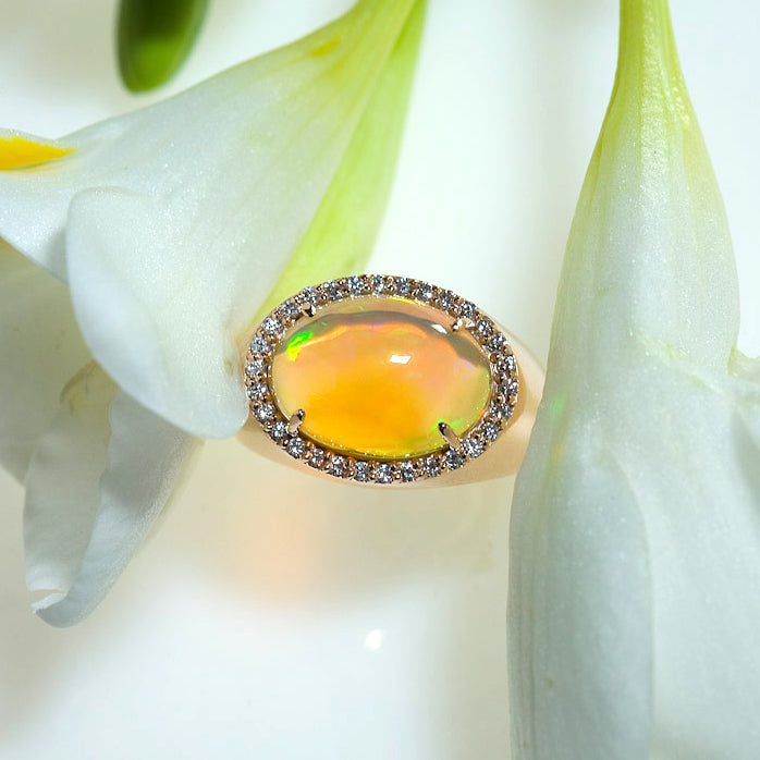 18K Pink Gold Ethiopian Opal and Diamond Ring