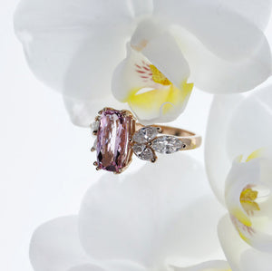 One-Of-A-Kind 14K Pink Gold Pink Topaz And Diamond Ring