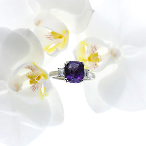 Custom Designed Platinum 3-Stone Purple Sapphire And Diamond Ring