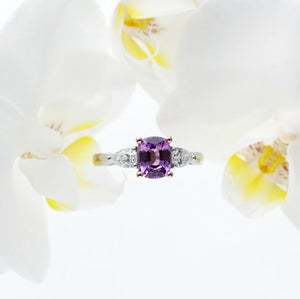 Platinum And 18K Rose Gold Pinkish-Purple Sapphire And Diamond Ring