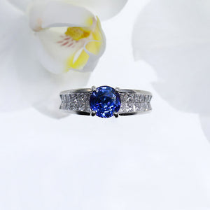 Platinum Color Change Sapphire And Diamond Ring