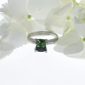 18K White Gold Green Sapphire And Diamond Ring