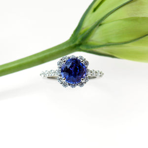 Platinum Unheated Natural Violet Sapphire and Diamond Ring