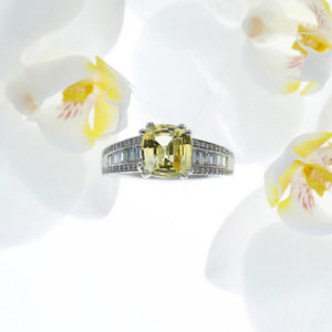 Custom Designed Platinum Natural Yellow Sapphire and Diamond Ring