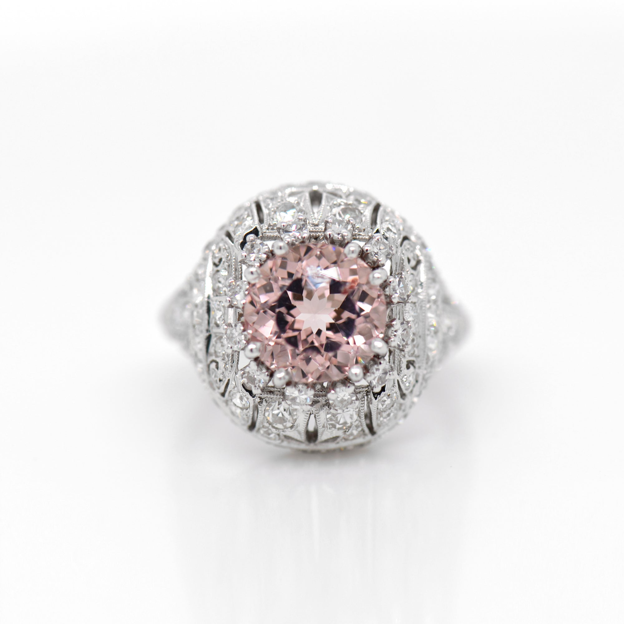 Antique Victorian Platinum Morganite And Diamond Ring