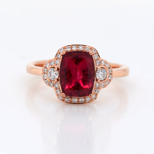 14K Rose Gold Rubellite Tourmaline And Diamond Ring