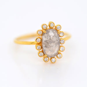 18K Yellow Gold Rough Diamond Ring