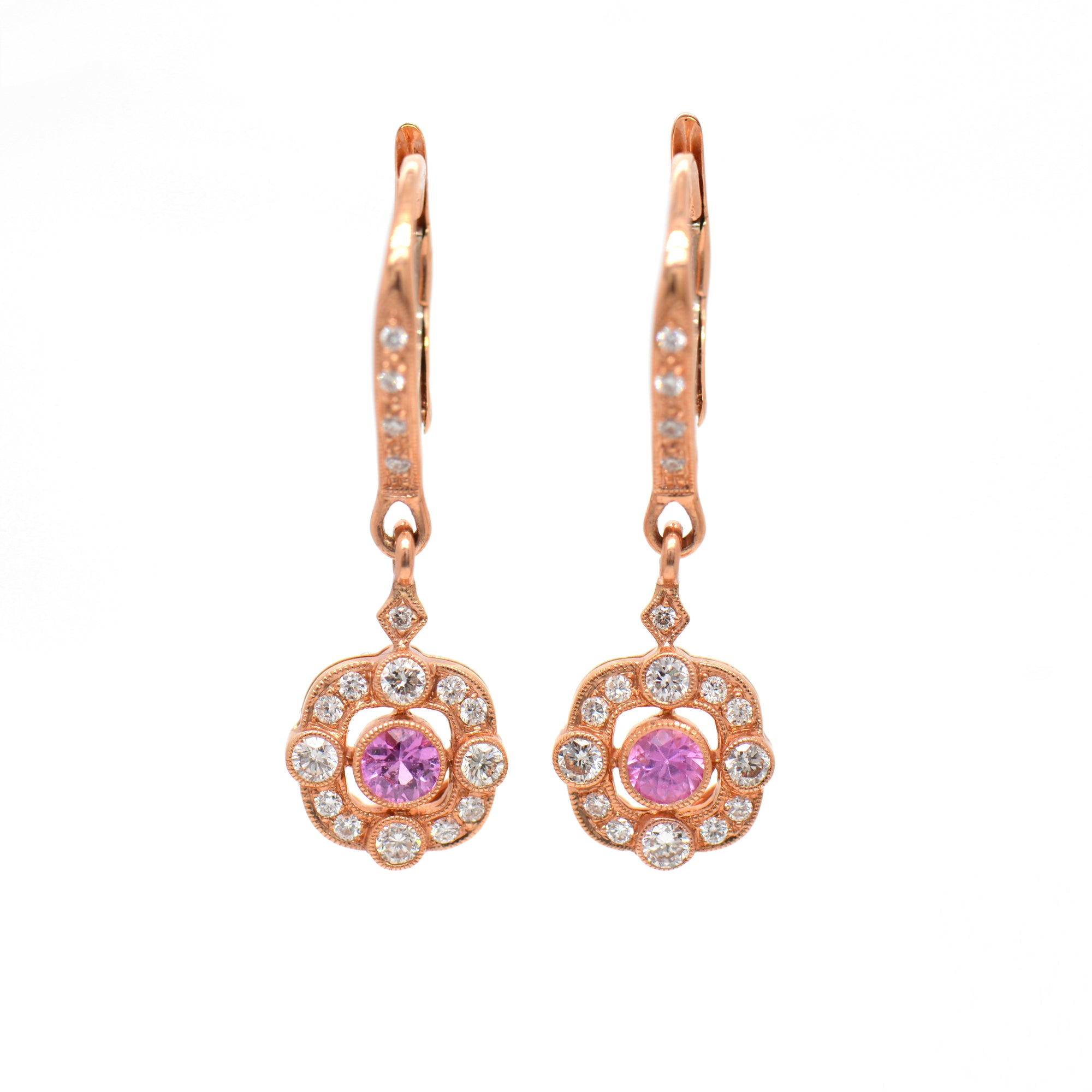 18K Rose Gold Pink Sapphire And Diamond Halo Drop Earrings