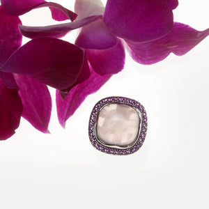 Sterling Silver Rose Quartz And Pink Sapphire Ring