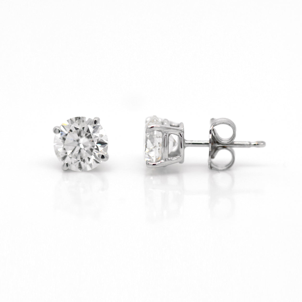 14K White Gold 1.70 Carat Diamond Studs