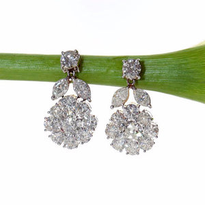 Antique Vintage Platinum Diamond Earrings