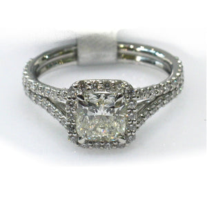 Platinum Split Shank Cushion Cut Diamond Ring with 88 Additional Diamonds