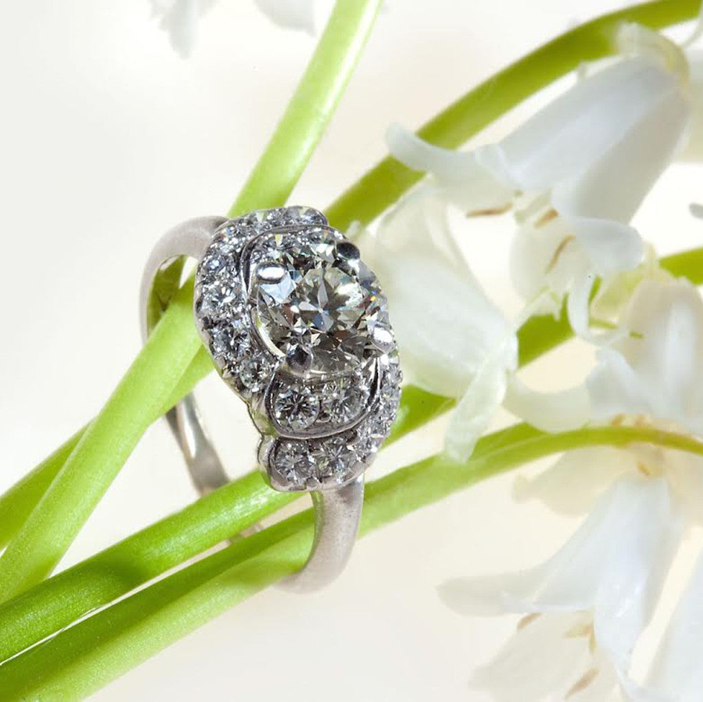 Antique Platinum Retro European Cut Diamond Ring