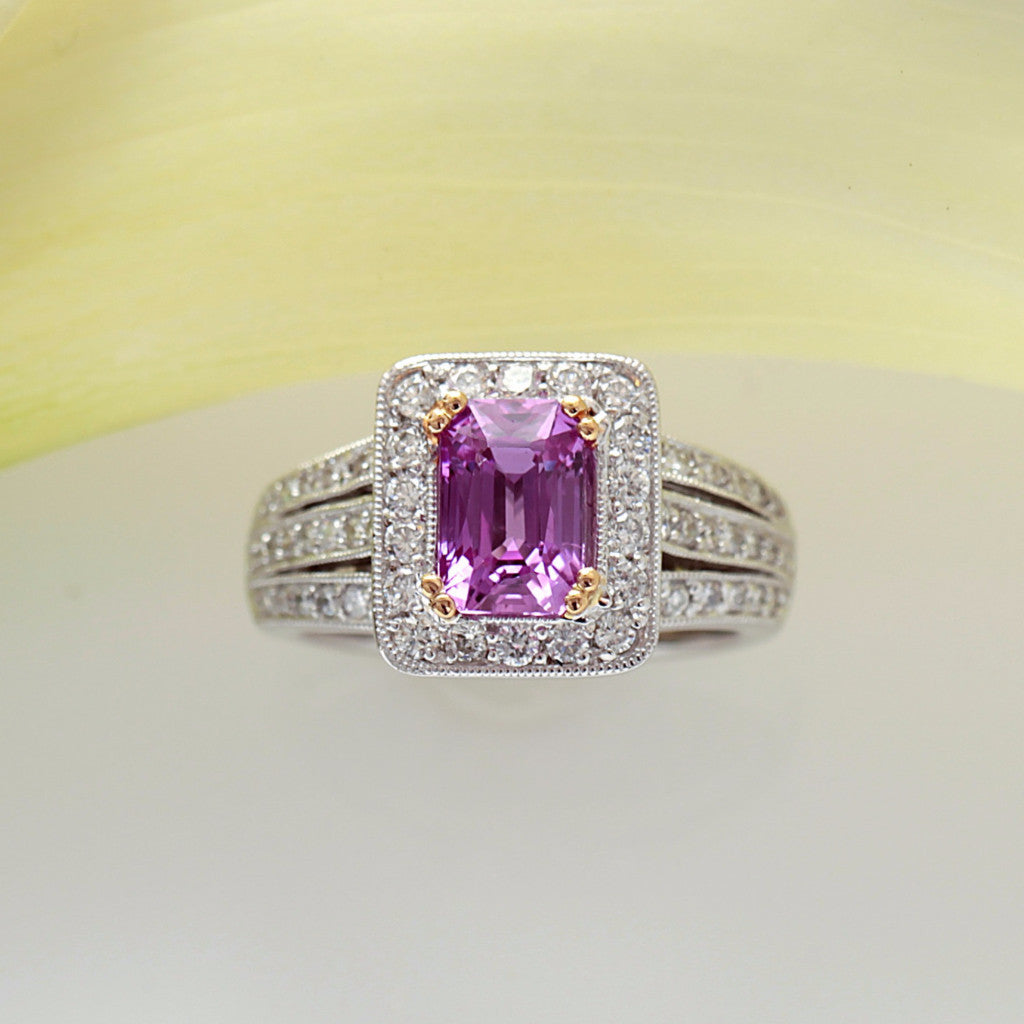 White Gold Pink Sapphire Ring With Yellow Gold Prongs