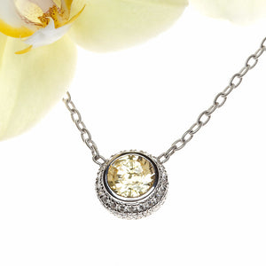 16 inch 18K white gold yellow sapphire and pave set diamond necklace