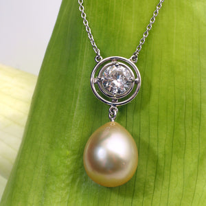 Antique Platinum Golden South Sea Pearl and Transitional Cut Diamond Necklace
