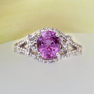 Platinum Oval Pink Sapphire Ring With Pave Set Diamonds