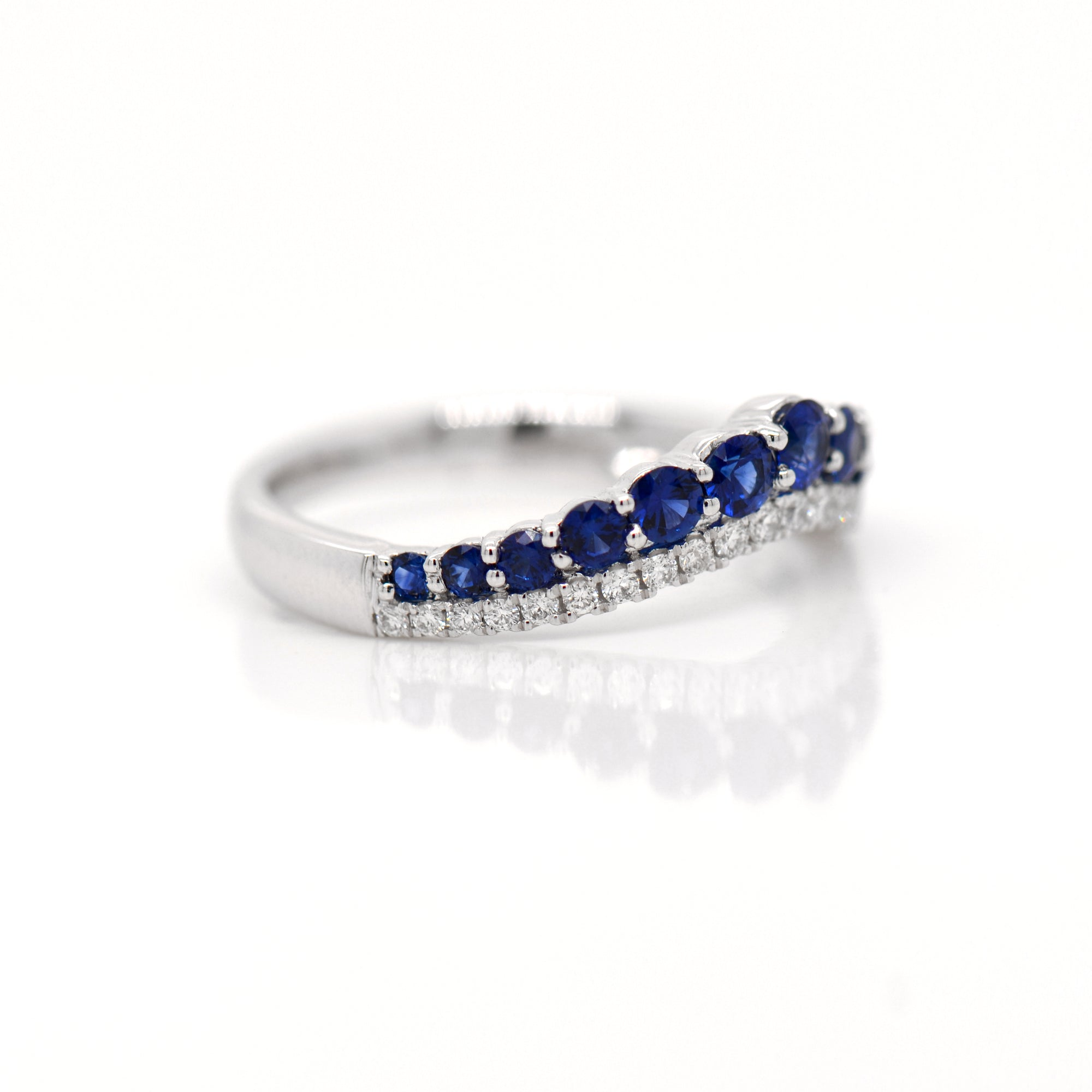 Platinum Diamond And Sapphire Tiara Wedding Band