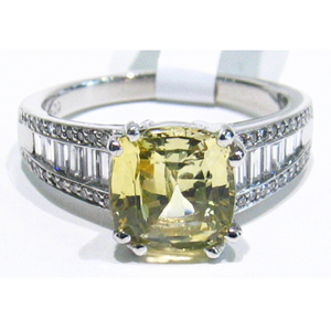 custom design platinum natural yellow sapphire and diamond ring