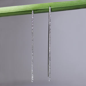 "14K white gold diamond ""stiletto"" earrings with brilliant-cut diamonds"