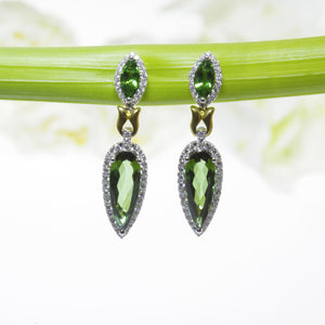 One Of A Kind 18K White Gold Tourmaline, Tsavorite, and Diamond Drop Earrings