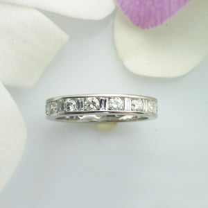 Platinum Round And CrissCut Emerald-Cut Diamond Eternity Band