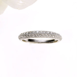 "18K White Gold Milgrain ""Knife Edge"" Diamond Eternity Band"