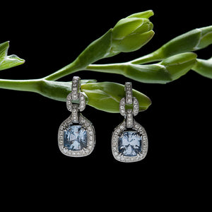 18K White Gold Burma Sapphire And Pave Diamond Earrings