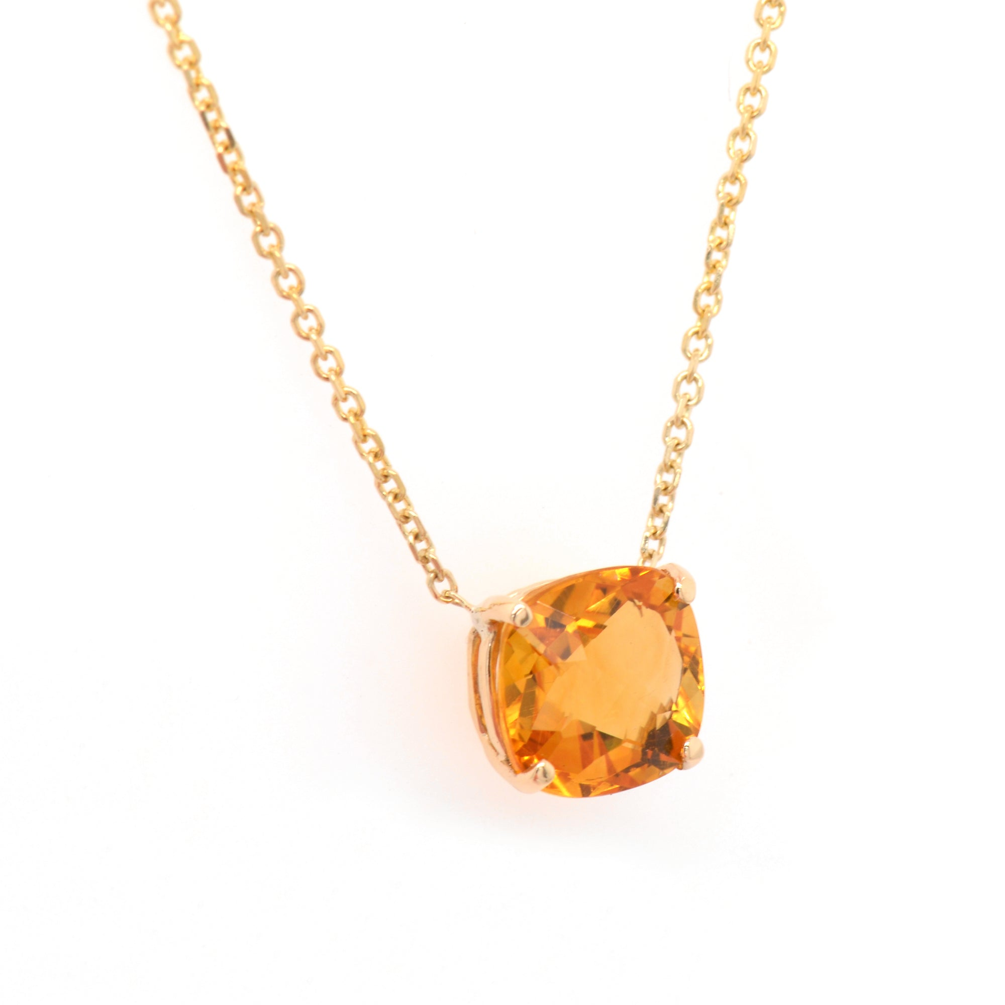 14K yellow gold citrine necklace featuring 1 cushion-shaped yellow-orange citrine measuring 8x8 mm.