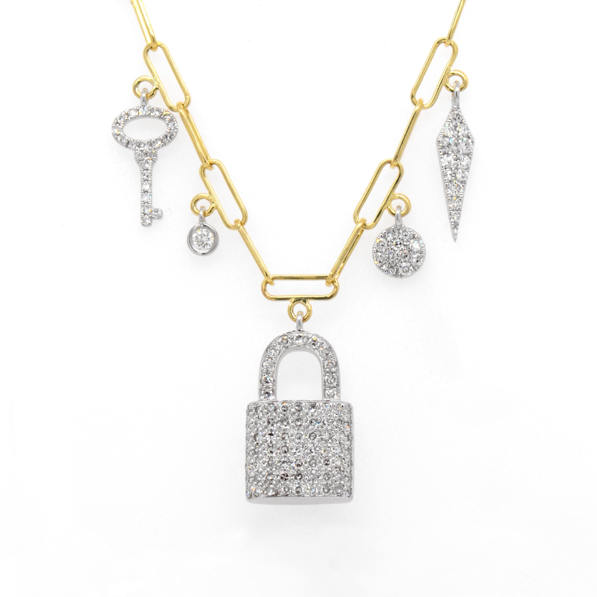 14K Yellow And White Gold Diamond Locket Necklace