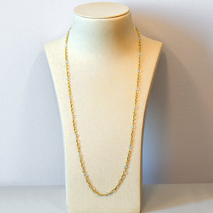 18K Yellow Gold Blue Topaz Chain Necklace