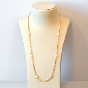 14K Yellow Gold Pearl Chain Necklace