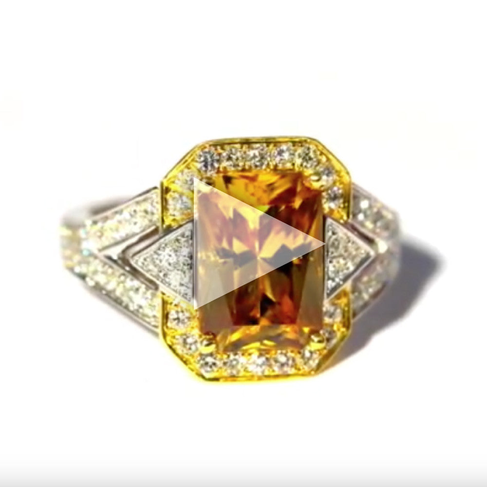 One Of A Kind Yellow-Orange Zircon and Diamond Ring
