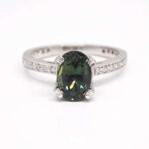 Platinum Bluish-Green Sapphire and Diamond Ring