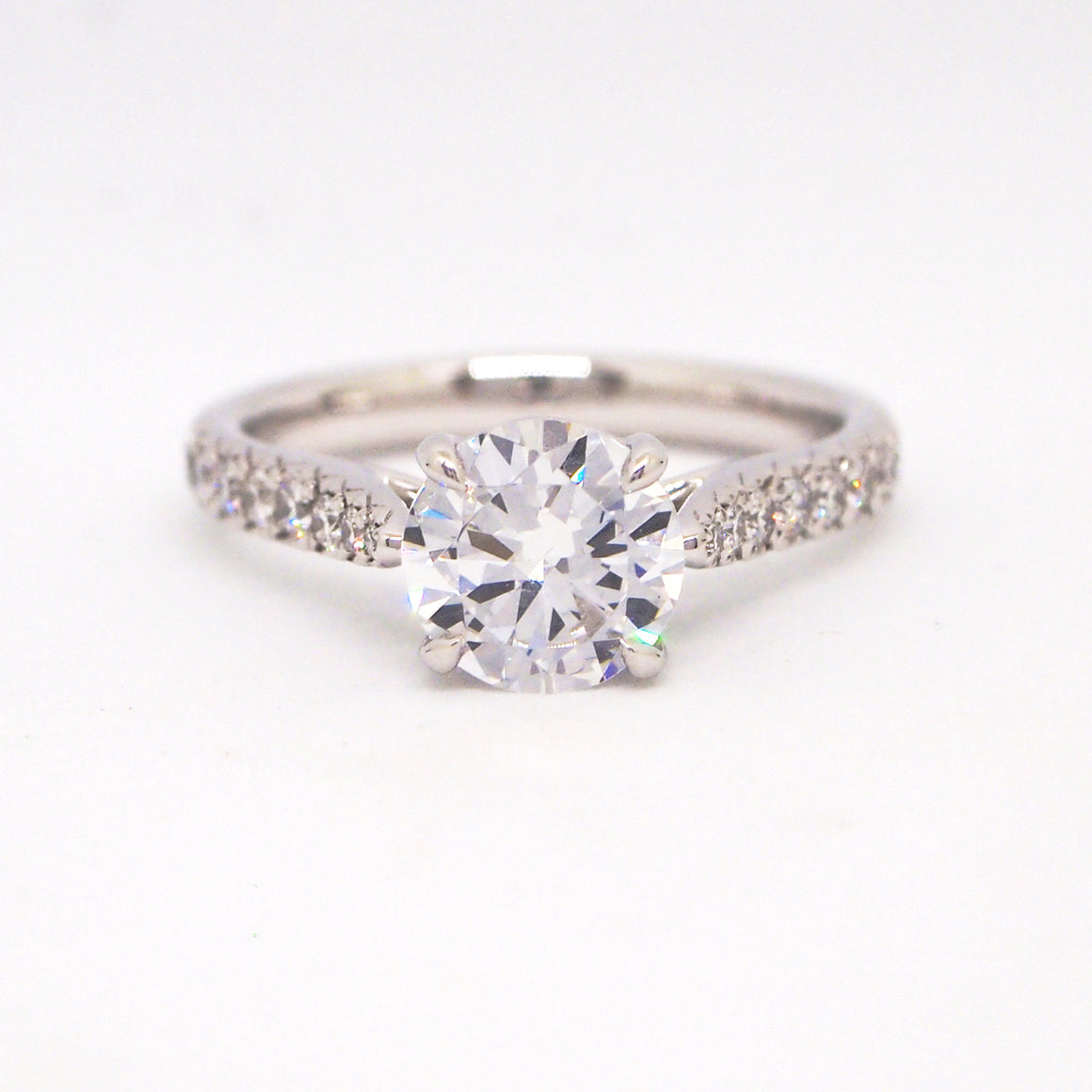 Point Of Love Platinum Diamond Solitaire Engagement Ring With Sapphire Point