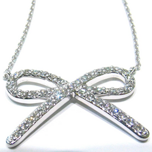 14K white gold bow pendant with 44 pave-set round brilliant full-cut diamonds
