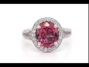 Platinum Unheated Pinkish-Orange Sapphire And Diamond Ring