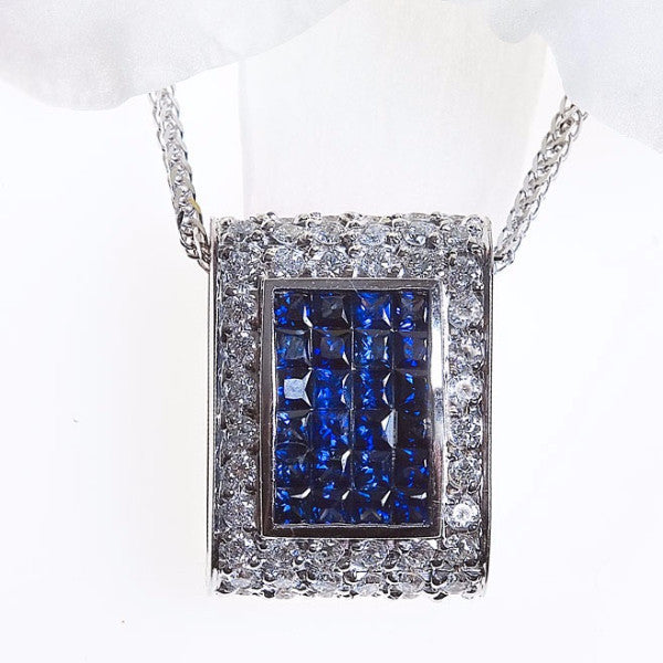 Reversable White Gold Sapphire and Princess Diamond Necklace
