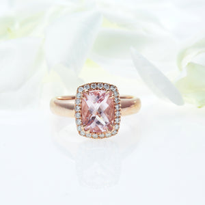 14K pink gold ring with one cushion-cut morganite and diamonds
