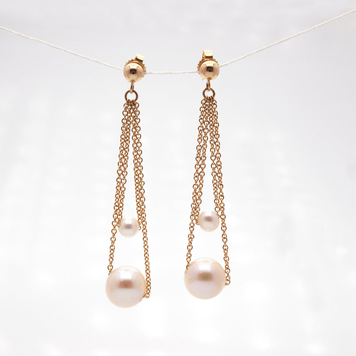 14K Yellow Gold Moondrop Pearl Earrings