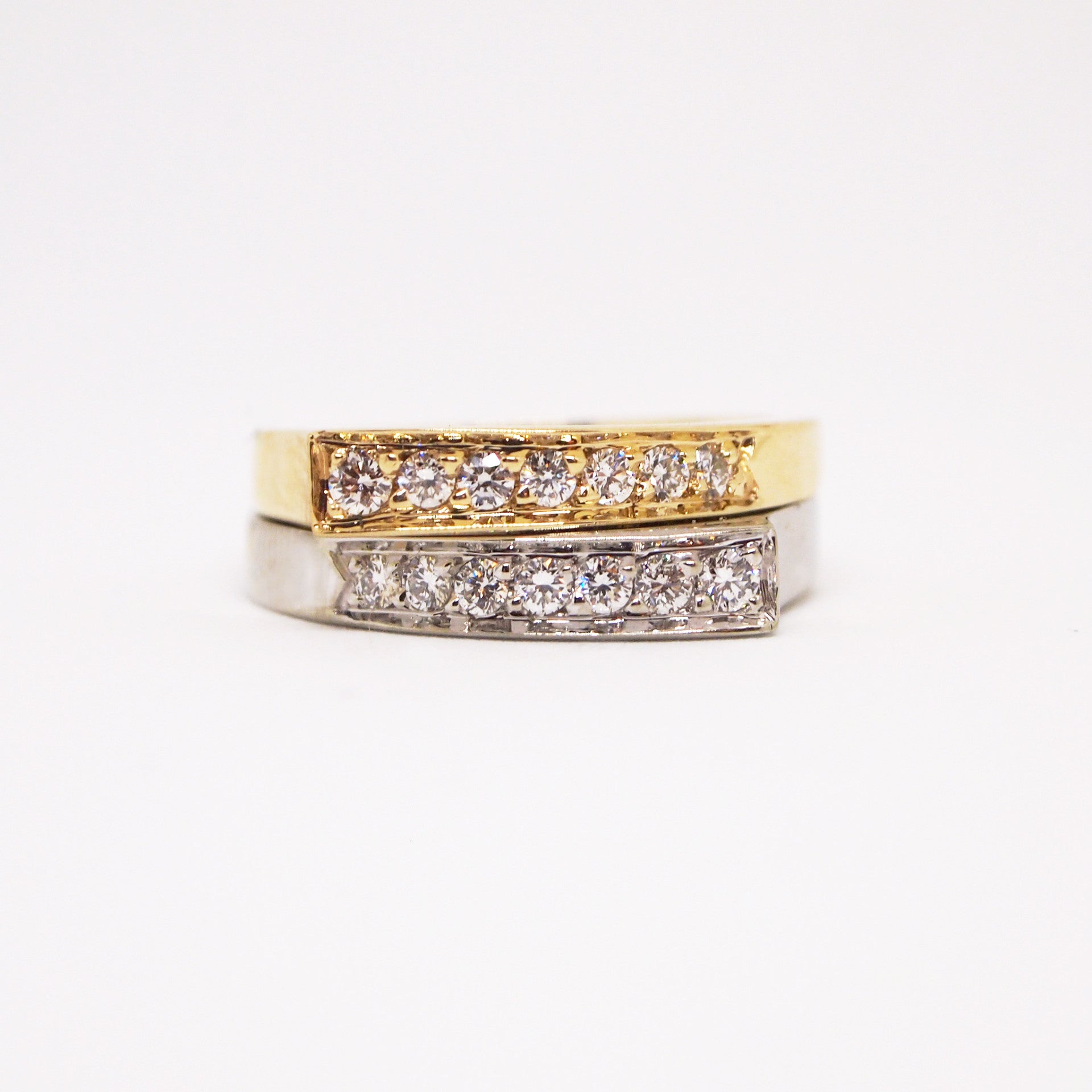 "14K yellow and white gold ""Opposites Attract"" diamond band"