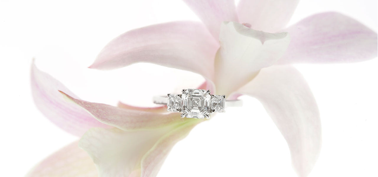 Judith Arnell Jewelers Royal Asscher 3 Stone Diamond Engagement Ring