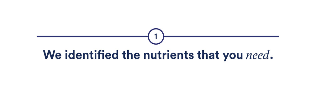 We identified the nutrients that really you need