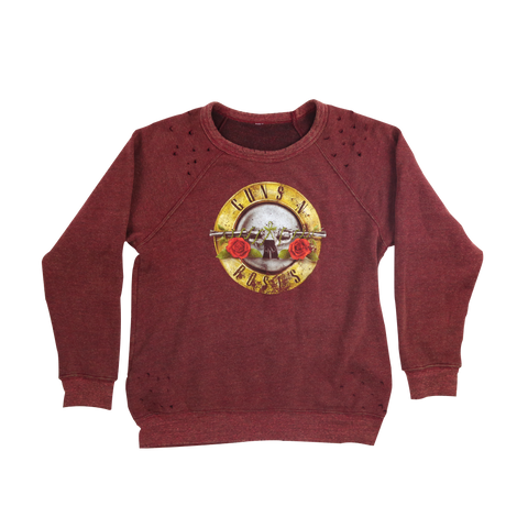 Maroon Tattered Distressed Crewneck