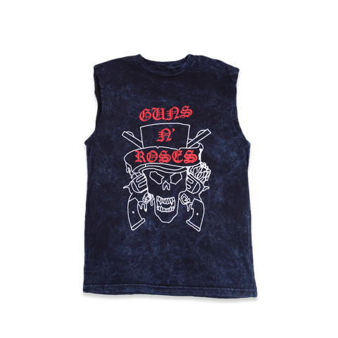 Top Hat Sketch Skull Muscle Tank