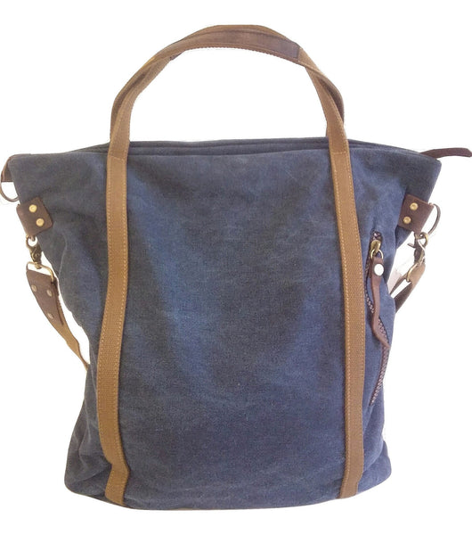 Deep Blue Canvas Overnight Bag - Leather And Wood Co.